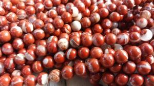 Jaspis (white lace red jasper) 8 mm